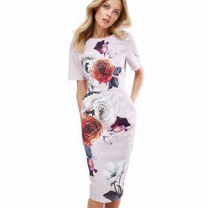 ASOS Textured Floral Midi Wiggle Dress w/ Pockets